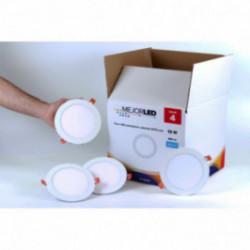 Pack 4 Focos LED Extraplanos Redondos 17cm Luz Fría