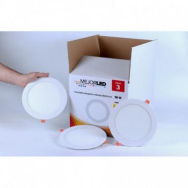 Pack 3 Focos LED Extraplanos Redondos 22,5cm Luz Neutra