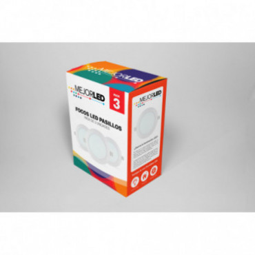 Pack 3 Focos LED de Superficie Redondos 22,5cm Luz Cálida