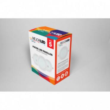 Pack 5 Focos LED de Superficie Redondos 22,5cm Luz Fría