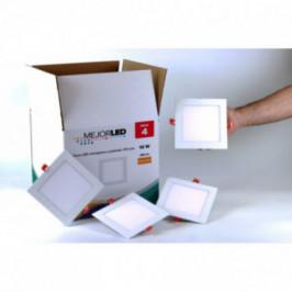 Pack 4 Focos LED Extraplanos Cuadrados 17cm Luz Cálida