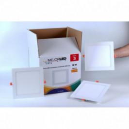 Pack 3 Focos LED Extraplanos Cuadrados 22,5cm Luz Cálida